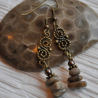 Lake Michigan Petoskey stone nugget earrings with pearls and brass accents. Northern Michigan, Up North