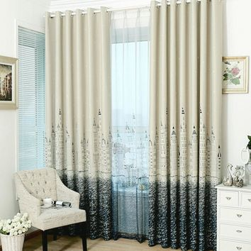 Castle Pattern Full Blackout Tube Curtain for Bedroom Living Room Window Drapes Full Shading Curtains For Child Bedroom