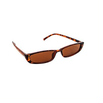 Skinny Brown Flat Top Cat Eye Sunglasses