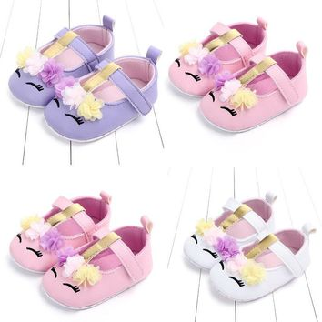 Pudcoco Infant Newborn Baby Girls Unicorn Flower Soft PU Crib Shoes Walking Prewalker Flat Shoes