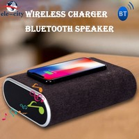 Stereo Bluetooth Speaker Wireless Charger for Smartphone Portable Bass Power Bank Sound Box Fast Charging For iPhone X 8 US Plug