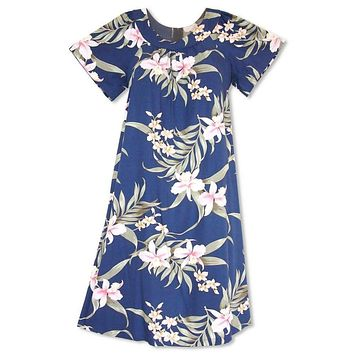 f670c62d Bamboo Orchid Blue Hawaiian Rayon Tea Muumuu Dress