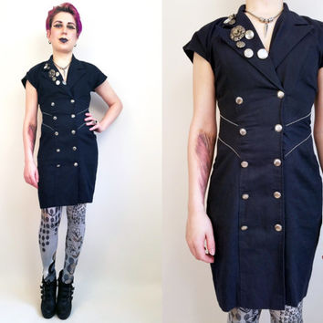 80s Dress 80s Clothing Button Up Dress Vintage Dress Size Small Mini Dress Little Black Dress Embellished Dress Cut Out Back Gold Buttons