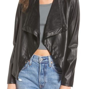 BB Dakota 'Peppin' Drape Front Faux Leather Jacket | Nordstrom