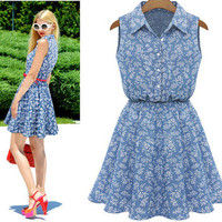 2016 Popular Women's Fashion Floral Printed Jeans Like Sleeveless Sexy Casual Party Beach Summer Mini One Piece Dress  _ 3133