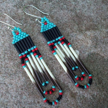 Beaded Earrings with Porcupine Quills, Native American Inspired - Turquiose, Red, and Black