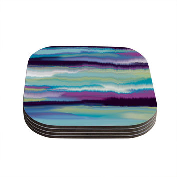 "Nina May ""Artika Blue"" Teal Purple Coasters (Set of 4)"