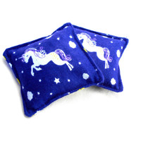 Purple Unicorn Flannel Hand Warmers - Purple Stars Reusable Rice Hand Warmers