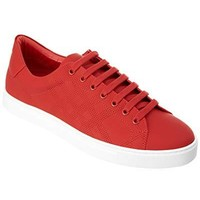 BURBERRY Perforated Canvas Lace-Up Sneaker, 42.5, Red