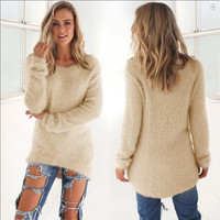 Apricot Long Sleeve Blouse with Fur
