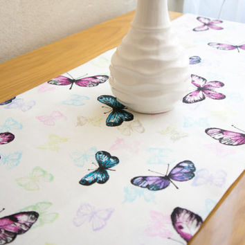 Colorful Butterfly Table Runner, Colorful Table Cover, Cotton Table Runner, Modern Tablecloth, Home Decor,  Outdoor Table Runner