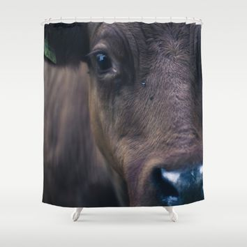 Cow Shower Curtain by Mixed Imagery
