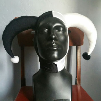 READY TO SHIP Black and White Harley Quinn Inspired Stretch Jester Hat