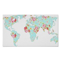 Floral world map with roses globe hipster print