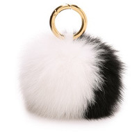 Black and white Big Rabbit Fur Pom Keychain