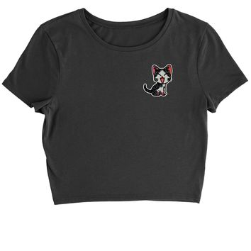 Embroidered Red Cat Patch (Pocket Print) Cropped T-Shirt