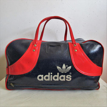 Vintage ADIDAS 1980s Tote Bag Navy Blue Red Vinyl Sport Gym 80s Duffle Bag