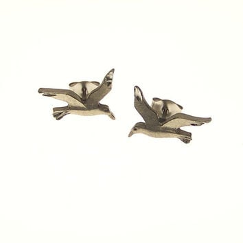 Vintage Pewter Seagull Stud Earrings