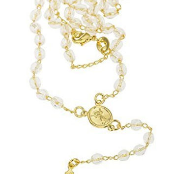 Two Year Warranty Gold Overlay Rosary Cross Pendant with Simulated Pearls and Jesus Piece Face Charm and an 18 Inch Necklace