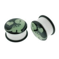 White Acrylic Single Flare Plugs with Glow in the Dark Dinosaur Design and O-Ring - 2G (6mm) - Sold as a Pair