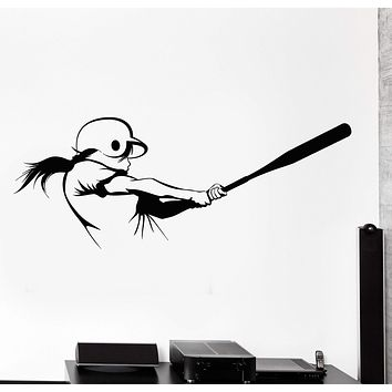 Wall Vinyl Decal Girl Playing Softball Sport Woman Home Interior Decor Unique Gift z4202