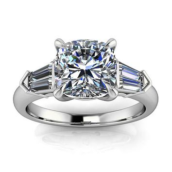 Cushion Cut Moissanite and Diamond Engagement Ring - Chicago