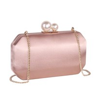 Women Satin Clutch Purse Handbags/Crossbody Hardcase Evening Bag with Pearls Closure for Party