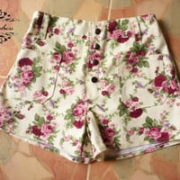 """Vintage Girl's Shorts...Floral Shorts Inspired Shabby Chic -Sweet Girl Cream with Pink Floral- -Size S-M- 12""""SHORT LENGTH"""