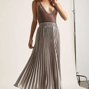 Satin Accordion Pleat Maxi Skirt