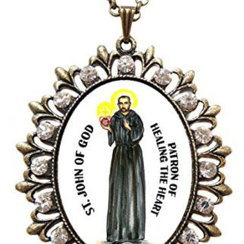 "Saint John of God Patron of Healing the Heart Huge 2 1/2"" Antique Bronze Gold Medallion Rhinestone Pendant with 4x6 Prayer Card Set"
