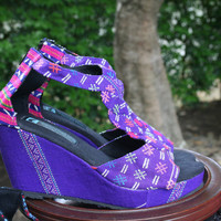 T Strap Wedge Heel Purple Womens Sandals, Vegan Shoes In Ethnic Karen Hand Woven Textiles Boho Shoes - Hilary