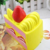 Slow Rising Squishy Slice Triangle Cake Squishy Toy Cream Scented Slow Rising Hand Wrist Toy Color Random