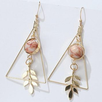 ES272 Long Drop Earrings Women Triangle Dangle Earring Fashion Jewelry Brincos oorbellen Ear Jewelry Beads Leaf Pendant