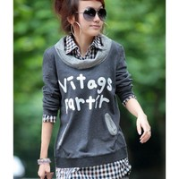 Dark Grey Hoodie Women Apparel New Style Spring Apparel Lattice Lapel Fake Two-pieces Letter Print Long Sleeve Loose Cotton M/L @GP0017dg $18.95 only in eFexcity.com.