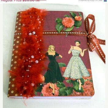 CIJ SALE 15% Off Altered Journal (Recycled-Hard Cover Composition Book /Notebook /Diary) - 1940s Women - Handmade ChristmasInJuly Sale - On