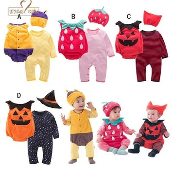 NYAN CAT Halloween baby costume pumpkin strawberry bee clothing set 3pcs hat+romper+bodysuit infant toddler boys girls clothes