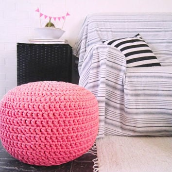 Light Neon Pink Crochet Pouf - Light Pink Neon Crochet Floor Cushion - Ottoman Nursery Footstool - Eco friendly Decor -  Housewares