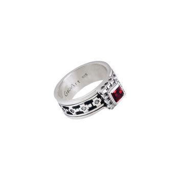 Baroque Sterling Silver And Garnet Spinner Ring