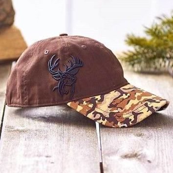 Mens Deer Wildlife Embroidered Camo Cap One Size Brown Cotton Hat