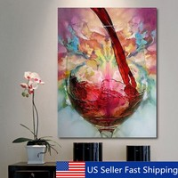 Abstract Giclee Red Wine Glass Oil Painting Canvas Wall Art Print Picture Decor