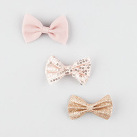 Full Tilt 3 Piece Chiffon/Glitter/Sequin Bow Hair Clips Blush One Size For Women 27049633201