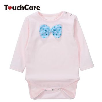 Infant Soft Cotton Baby Boy Girl Rompers Solid Big Bow-knot Toddler Jumpsuit Long Sleeve O-neck Kids Clothes