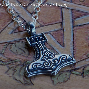 "THOR'S TRIQUETRA HAMMER Mjölnir Silver Pewter Amulet Pendant Necklace on 20"" Silver Plated Chain for Northern Tradition Magic, Asatru"
