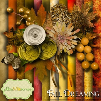Fall Dreaming - Digital Scrapbook Kit - Printable Autumn Fall themed Backgrounds - 12x12 inch Papers - FREE Quickpage Layout - Incl ALPHA