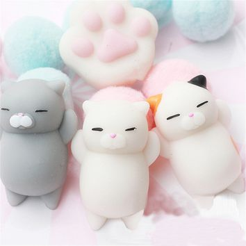 3pcs Lovely Mochi Cat Squishy Healing Toy Squeeze Fun Kid Gift Stress Reliever