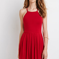 Strappy-Back Pleated Dress