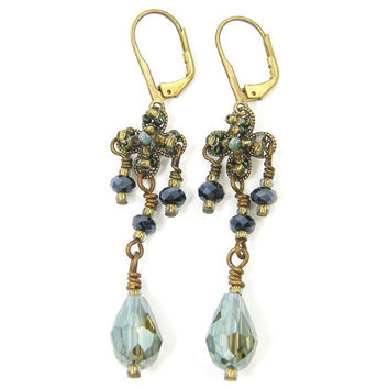 Aqua Chandelier Earrings - Gold Dangling Filigree Ornate Vintage Style Drop Jewelry