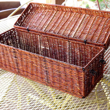 Wicker Basket, Long Narrow Rectangle Hinged Lidded Wicker Trunk with Side Handles, Tabletop Storage Container