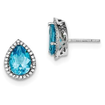 Sterling Silver Sky Blue Topaz Pear & CZ Post Earrings