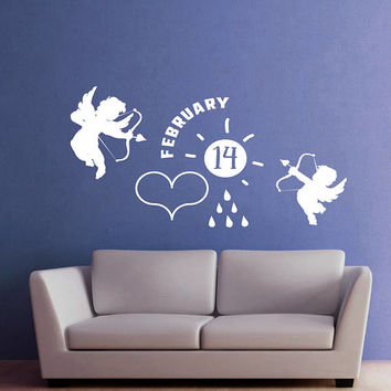 Valentines Day Wall Decal, Cupids Angels Wall Sticker, February 14th Valentine's Day Wall Decor, Love Day Angels Quote Wall Art Mural se105